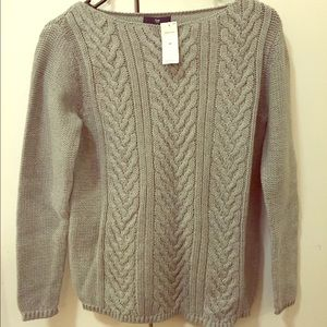NWT Basic Cable-knit Sweater in Gray, Xsmall